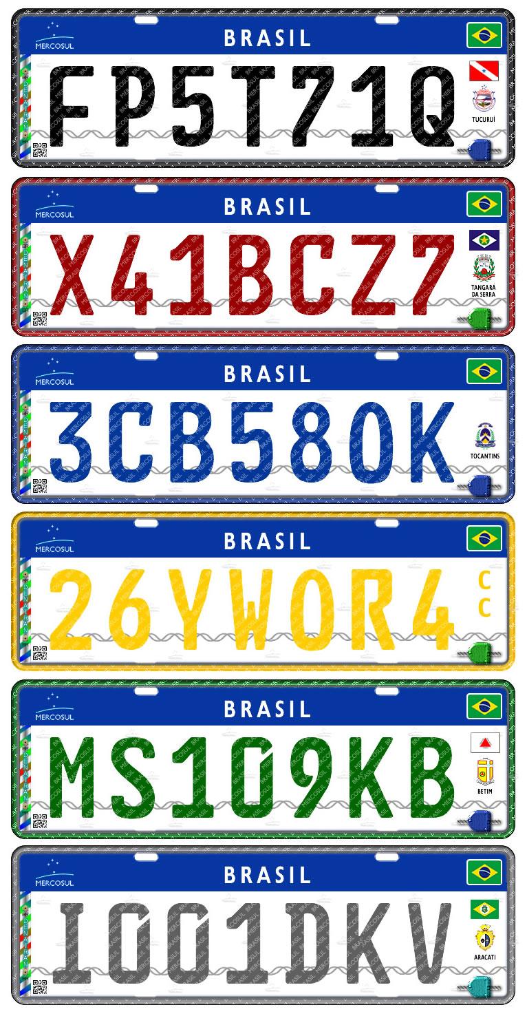 novas cores de placas de carro