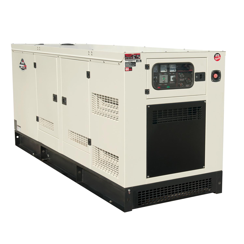 Modelo de gerador para indústria movido à diesel, da marca Toyama, que opera à 62.5 KVA