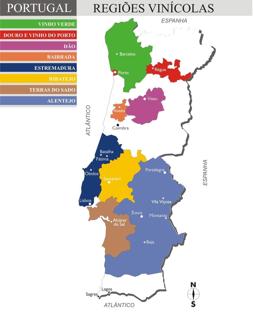 Mapa do vinho de Portugal