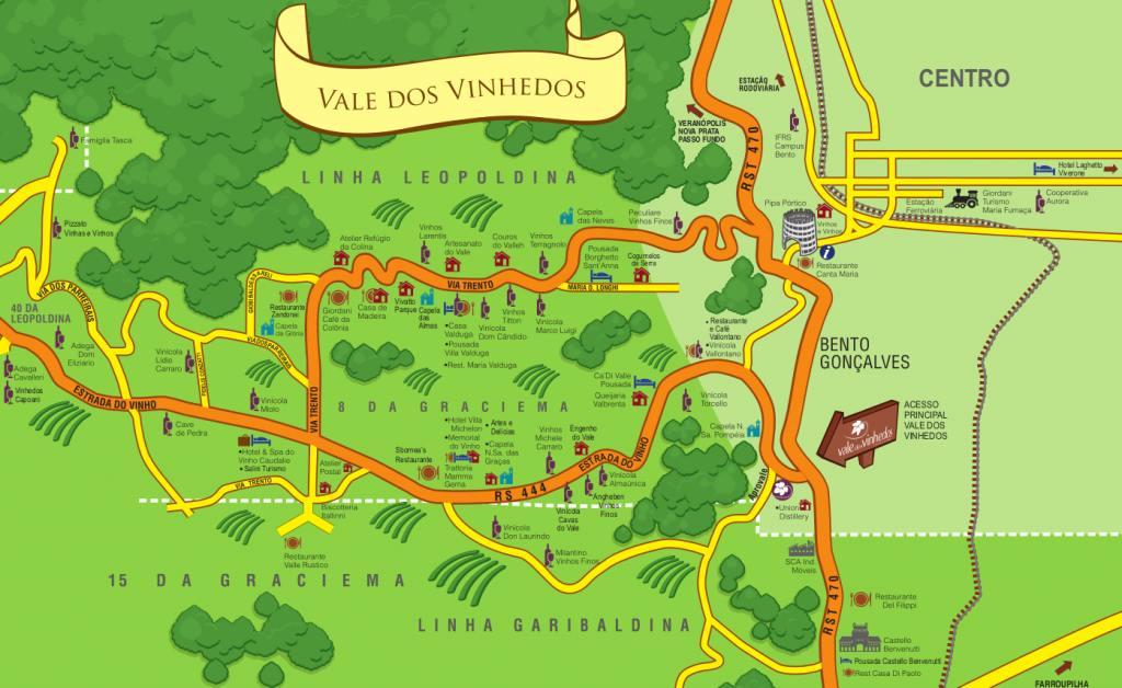 Mapa turístico do Vale dos Vinhedos mostra seus caminhos mais comuns