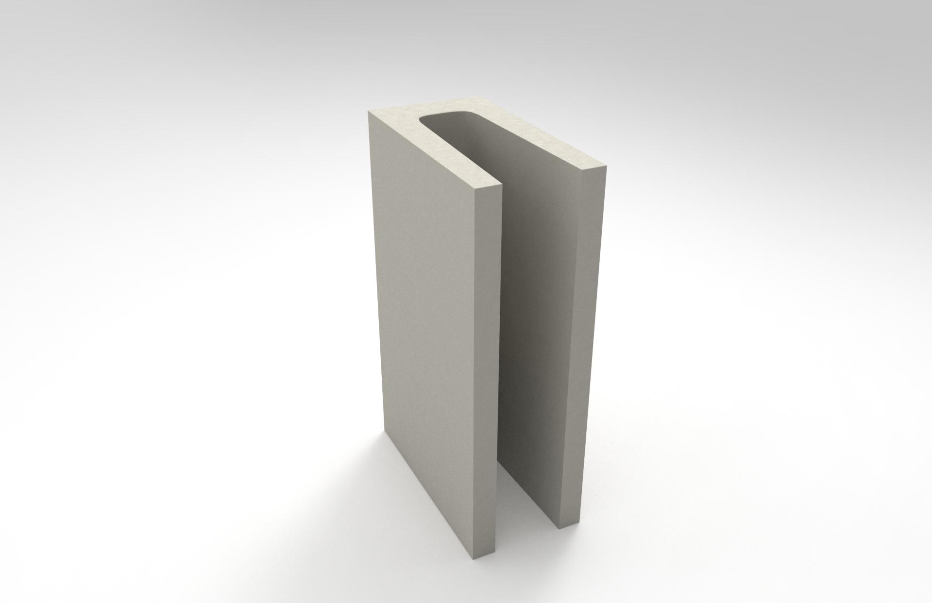 Réplica computadorizada de um bloco de concreto do tipo meia canaleta